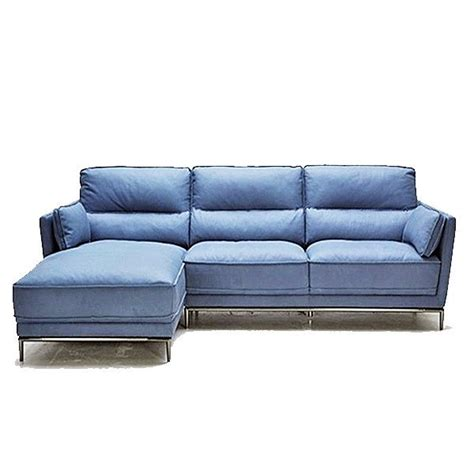 Delightful Blue Leather Sofa Living Room #5: Blue-Grey-Leather-Modern-Sofa-Sectional-Stainless-Steel-Legs.jpg