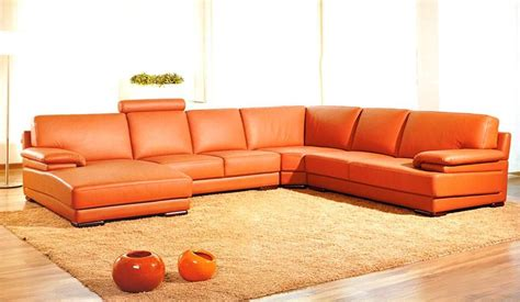 orange contemporary sofa 2227 contemporary orange leather sectional sofa