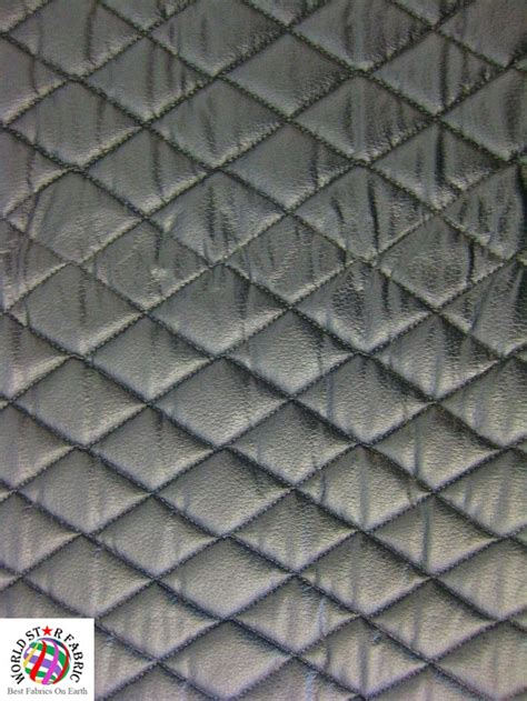 Black Quilted Fabric By The Yard by Quilted Upholstery Vinyl Foam Backing Fabric