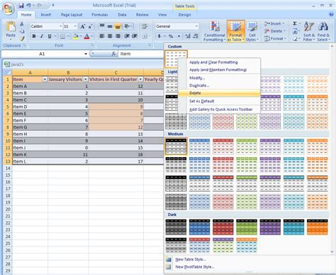 custom format excel 2007 delete a custom table style table format 171 table