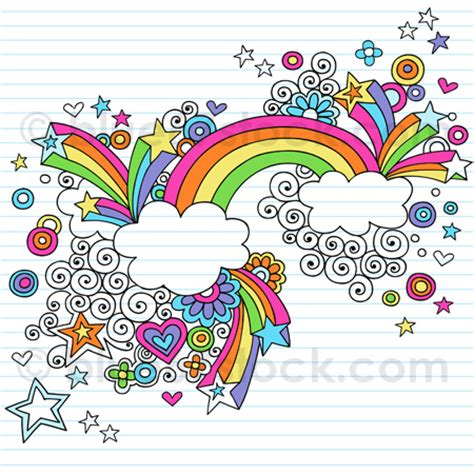 doodle drawing vector psychedelic rainbow notebook doodle vector illustration by