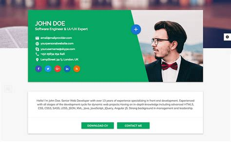 Cv Website Template by 15 Best Html Resume Templates For Awesome Personal