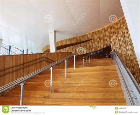 oslo opera house interior wooden stairs in modern architecture interior stock photo