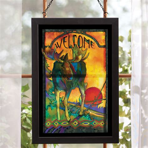 hanging glass wall decor moose stained glass wall