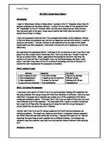 Work Experience Report Template My Work Experience Report Gcse Work Experience Reports