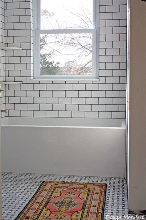 grouting bathtub tile dark grout unites the white subway tile tub surround and