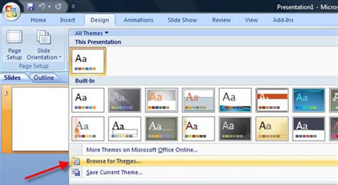 applying themes in powerpoint 2007 readysetpresent powerpoint template to presentation