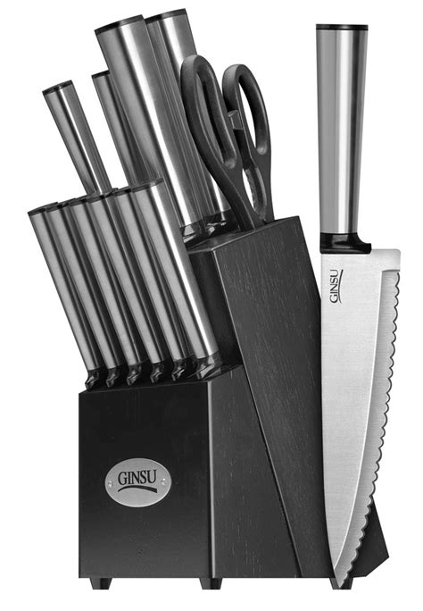 ginsu kitchen knives ginsu koden series 14 stainless steel serrated knife set cutlery set with