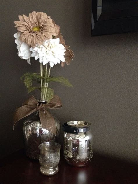 mercury glass ls home goods mercury glass from home goods store and burlap flowers