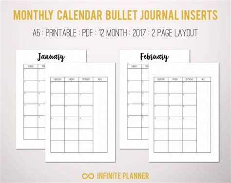 printable calendar journal monthly calendar 2017 bullet journal printable by