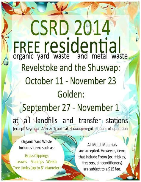free organic and metal waste event shuswap and revelstoke