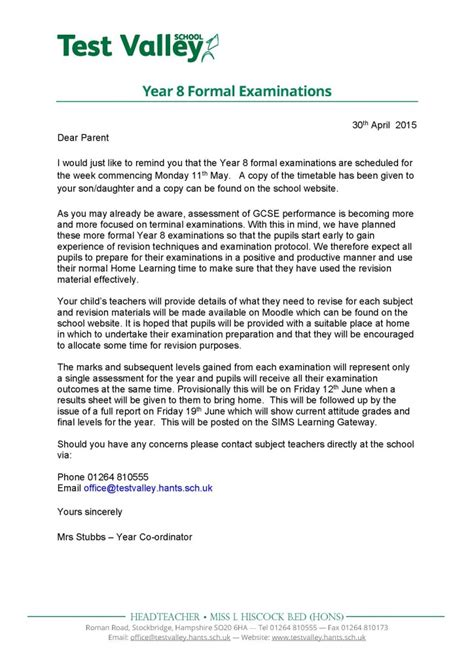 Parent Letter High School test valley school year 8 formal examinations
