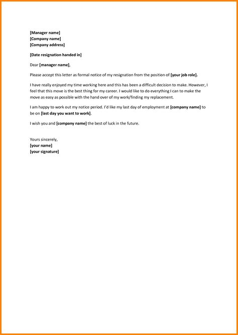 Resignation Announcement Letter by 6 Leaving Notice Template Ledger Paper