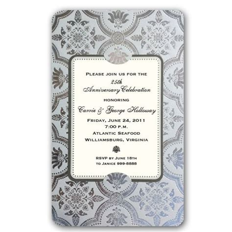 invitation card for 25th marriage anniversary in 25th wedding anniversary invitation cards