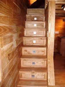 custom stairs to loft with storage drawers tiny green cabins