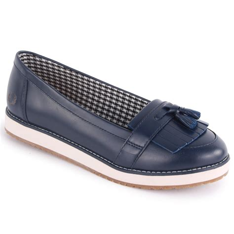 womens navy loafers fred perry alma b4194w womens slip on leather