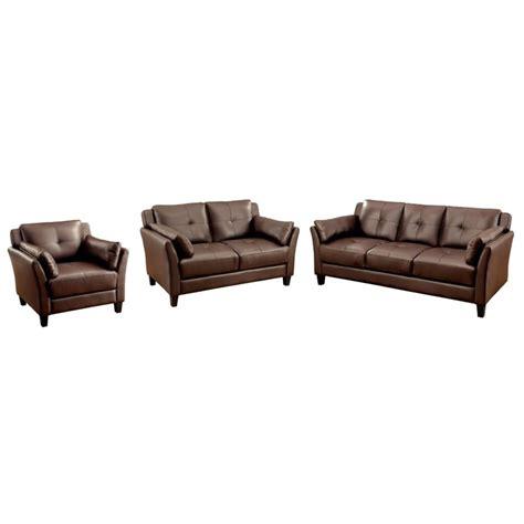 furniture of america ruggend 3 piece storage california furniture of america harrelson 3 piece leatherette sofa set in brown idf 6717br 3pc