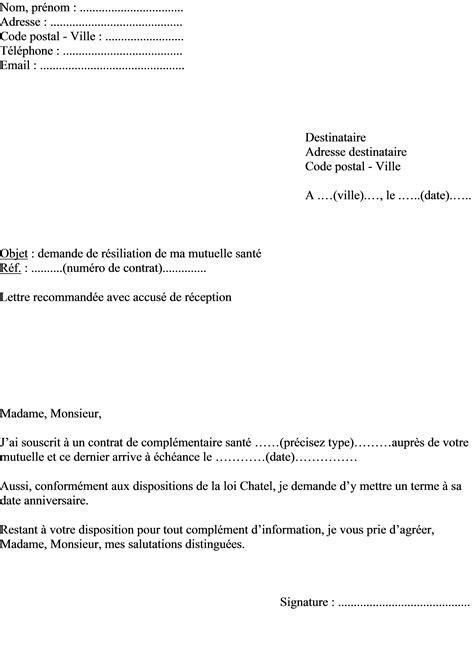 Modèle De Lettre De Résiliation De Contrat