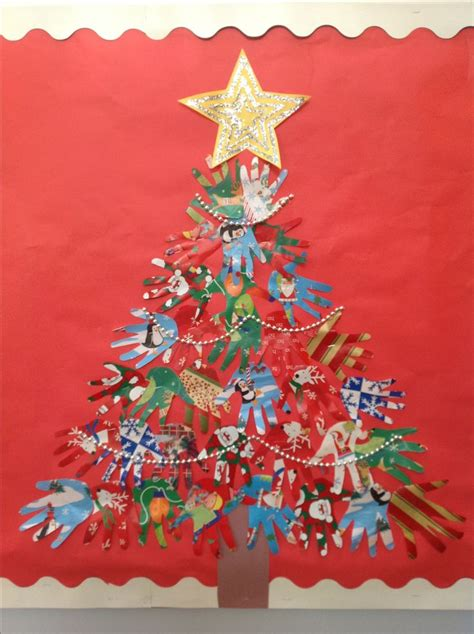 christmas tree crafts for preschool using handprint wrapping paper handprint tree kinder crafts trees