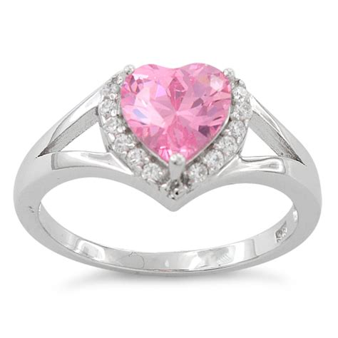 sterling silver shape pink cz ring