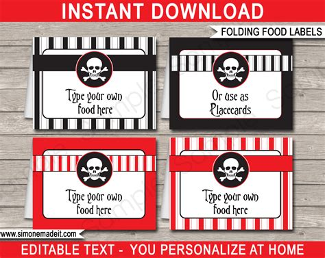 printable pirate labels printable pirate food labels place cards pirate theme