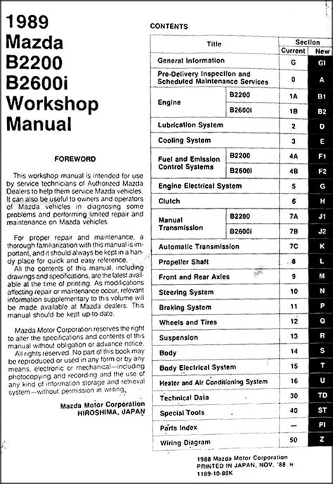 car maintenance manuals 1989 mazda b series interior lighting 1989 mazda pickup truck repair shop manual original b2200 b2600