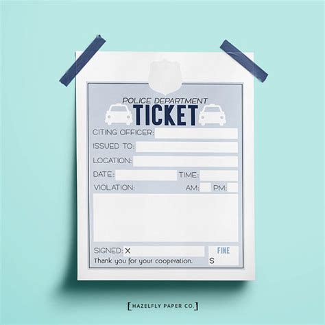 printable pretend tickets kids police tickets printable pretend play kids activity