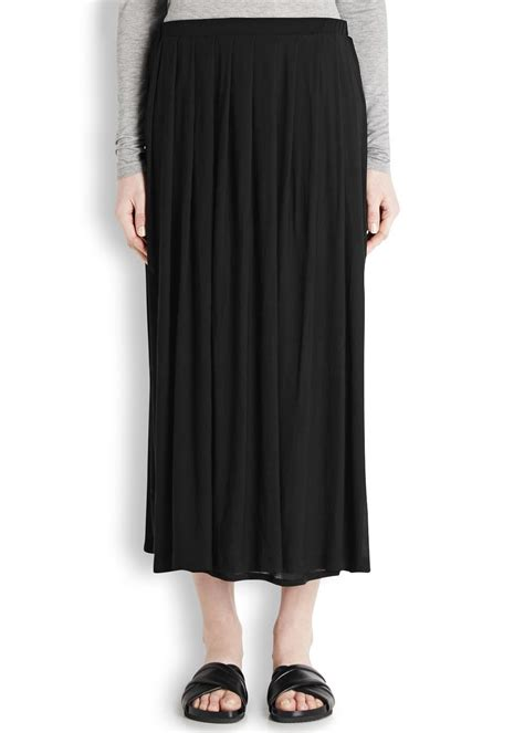 eileen fisher black pleated silk jersey midi skirt in