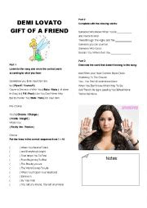 demi lovato song the gift of a friend english teaching worksheets demi lovato