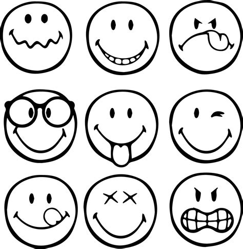 smiley coloring page graphical emoticons smiley coloring page