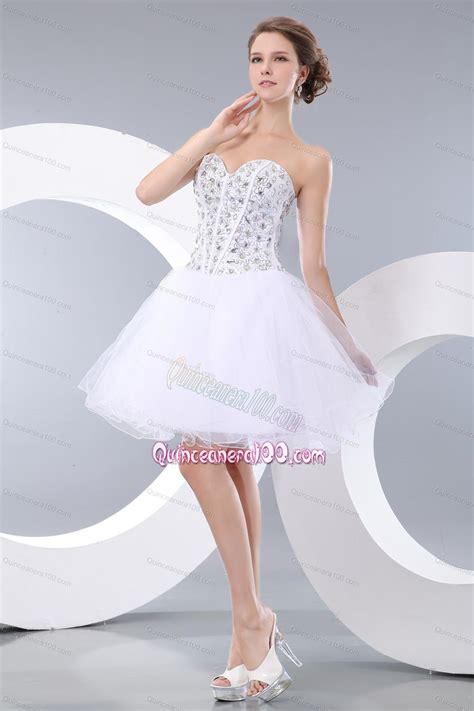 lovely white sweetheart mini length organza beading 16