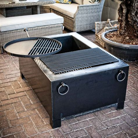 swing grill fire pit box with swing arm grill