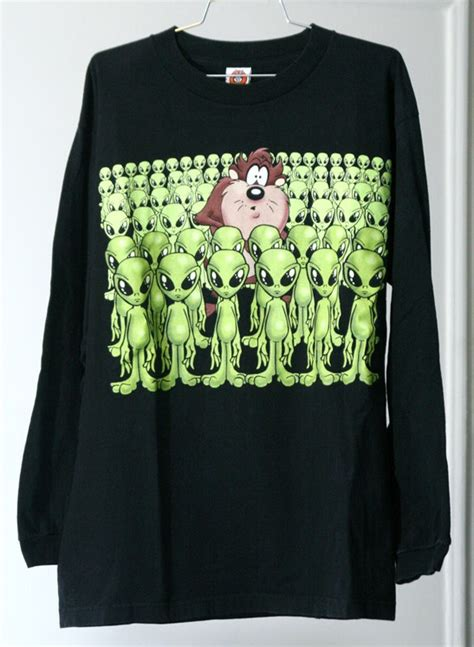 Looney Tunes Blouse Black T3009 3 sick taz with aliens 90s black sleeve looney tunes shirt aliens sleeve and looney tunes