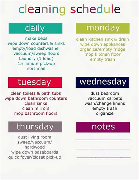 cleaning schedule new calendar template site