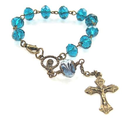 rosary for car mirror car rosary for rear view mirror teal blue with