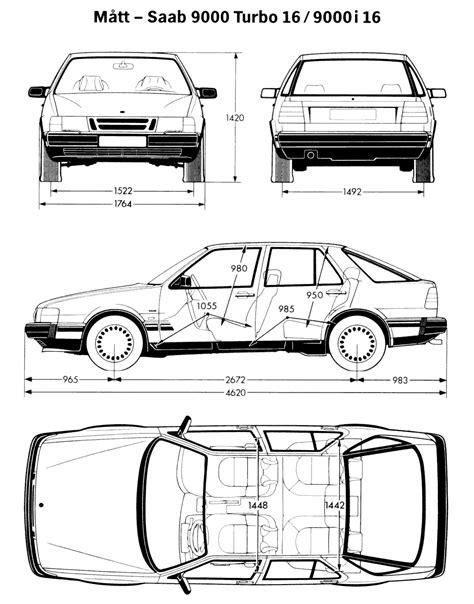 Saab 9000 Blueprint - Download free blueprint for 3D modeling