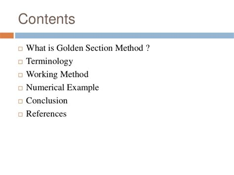 What Is The Golden Section by Golden Section Method