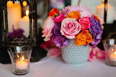 Purple And Orange Centerpieces For Weddings Spring Wedding Centerpiece Pink Orange Purple Onewed Com