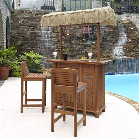 Backyard Tiki Bar Sets by Home Styles Bali Hai Outdoor Patio Tiki Bar And 2 Stools