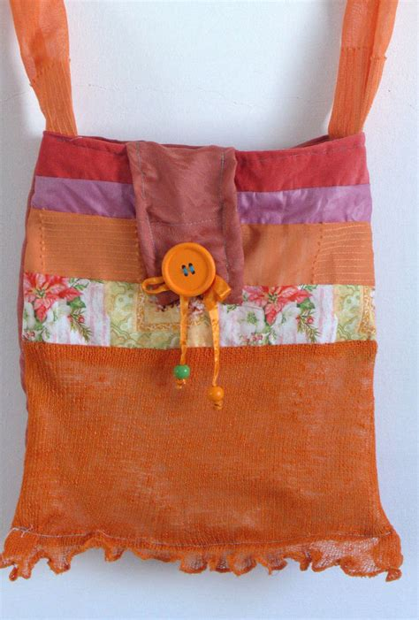 Handmade Quilted Purses - bag cotton purse handmade quilted cotton fabrics orange