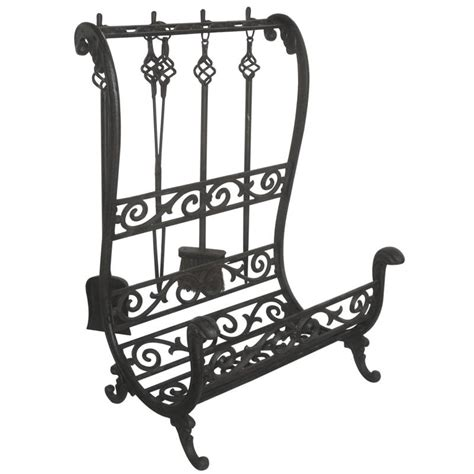 cast iron log holder with 4 fireplace tools gch174s