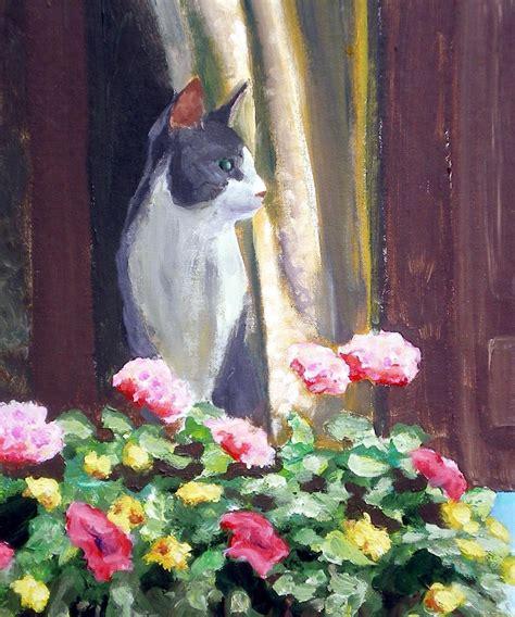 Acrylic Cat namir at the window acrylic painting the creative cat