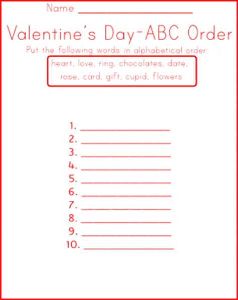 valentines day sequence worksheets abc order