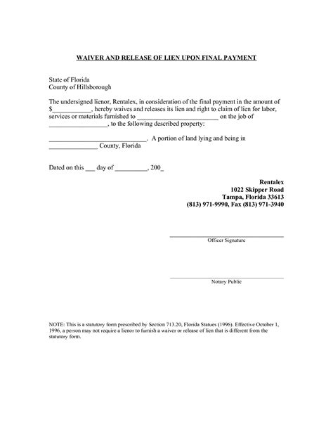 16 florida construction lien form general release