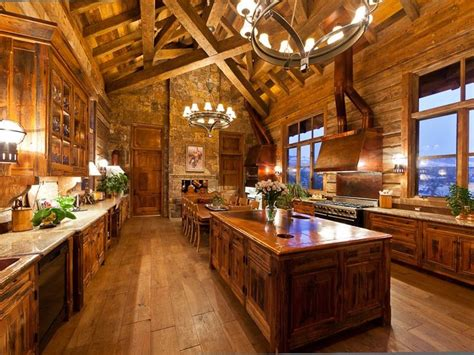 lodge kitchen log cabin kitchen kitchens pinterest