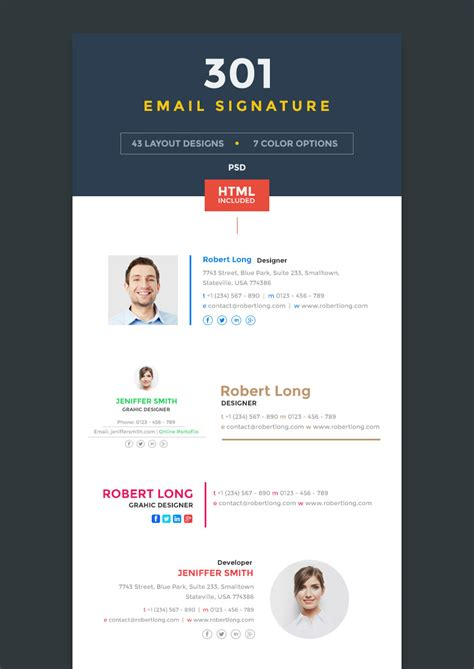 18 Professional Html Psd Email Signature Templates With Unique Designs Modern Email Signature Templates