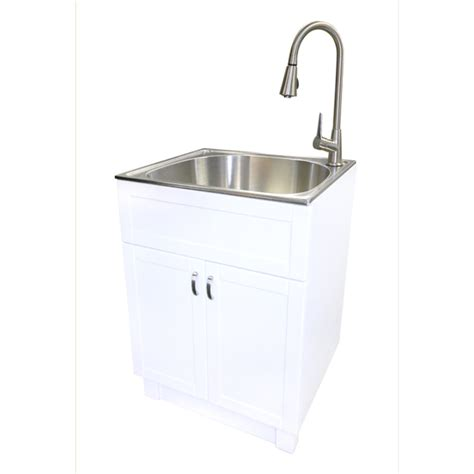 Laundry Room Sinks And Faucets Shop Transform White Cabinet With Sink And Faucet Stainless Steel Utility Tub At Lowes Mud