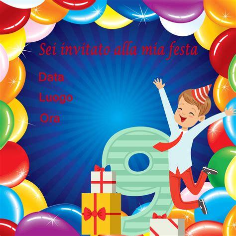 biglietti di biglietto di invito per feste di compleanno per il nono
