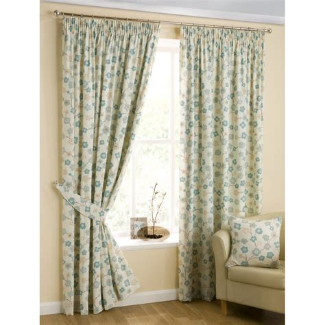 Cherry Blossom Curtains Belfield Furnishings Cherry Blossom Print Duckegg Pencil Pleat Readymade Curtains Belfield