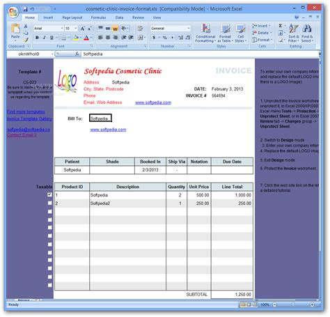 cosmetic clinic invoice format download